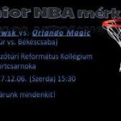 Junior NBA mérkőzés 2017.december 6. (szerda) 15:30