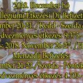 Kollégiumi Étkezési Díj és Menzadíj Befizetés – 2018. december