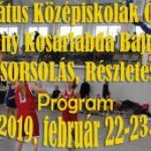 Református Középiskolák Országos Fiú-Leány Kosárlabda Bajnokság Programja – 2019. február 22-23. (péntek-szombat)