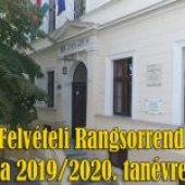 Felvételi Rangsorrend a 2019/2020. tanévre