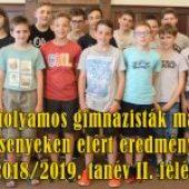 A nyolcévfolyamos gimnazisták matematika versenyeken elért eredményei 2018/2019. tanév II. félév