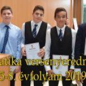 Matematika versenyeredmények  5-8. évfolyam 2019.