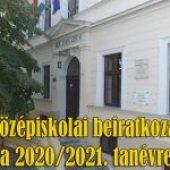 Tájékoztató középiskolai beiratkozásról – 2020. június 22.